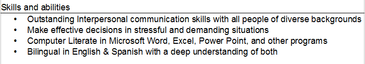 Skills And Abilities On A Resume list of skills and abilities for a resume resume skills list Skills And Abilities Resume